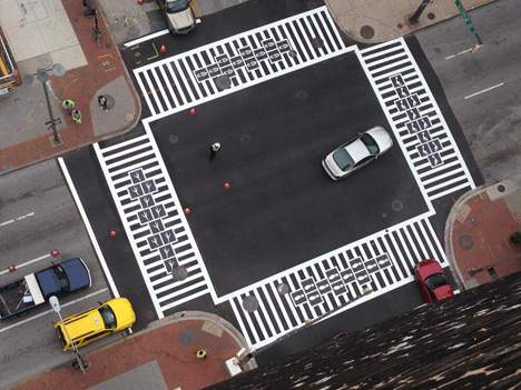 zebra hopscotch aerial view