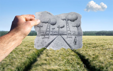 Ben Heine Scenery Drawings