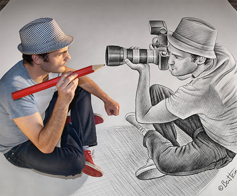 illusion drawings camera pencil pop illusions optical drawing artist 3d amazing sketches heine ben paintings think digital desenhos himself awesome