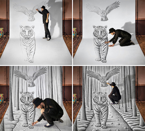 Pencil vs Camera Optical Illusion Drawings 4