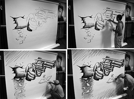 pencil camera illusion drawings pop optical 3d artist illusions sketches weburbanist heine ben illustration dream says charcoal