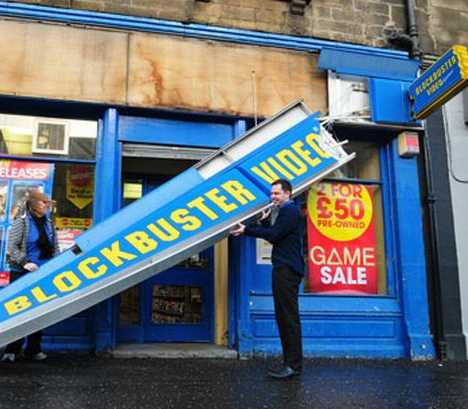 blockbuster video Scotland storm sign