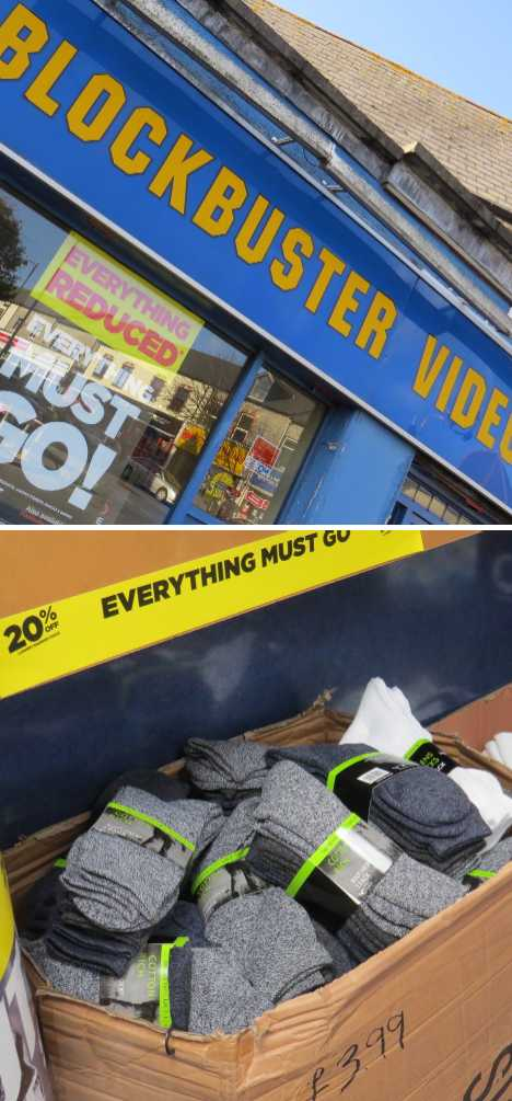 Penarth closing Blockbuster Video socks
