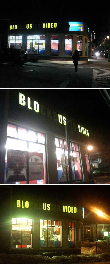 Blockbuster Blo Us Video store sign Brookline