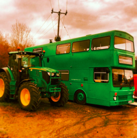 bus hotel with tractor