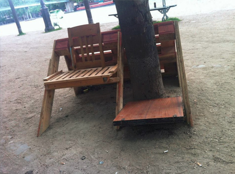 guerilla mixed bench chair