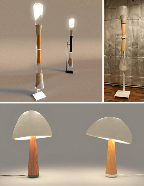 hourglass and mushroom lights