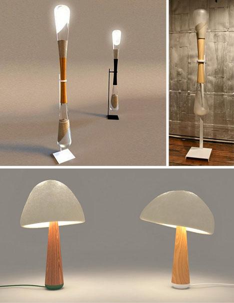 hourglass and mushroom lights