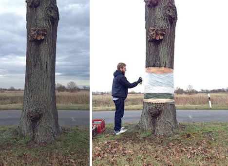 invisible tree painting process