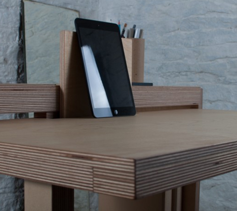 small desk tablet area