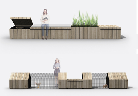 urban farm modules benches