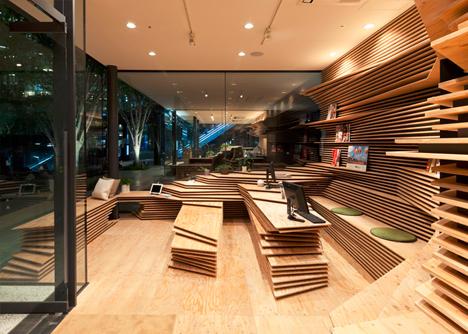 wood layered desk shelves