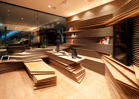 Topographic Interiors Pair Of Stacked Plywood Storefronts