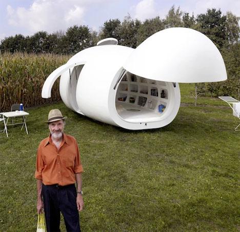 Blob: Oblong White Mobile Home Looks Like a Dino Egg