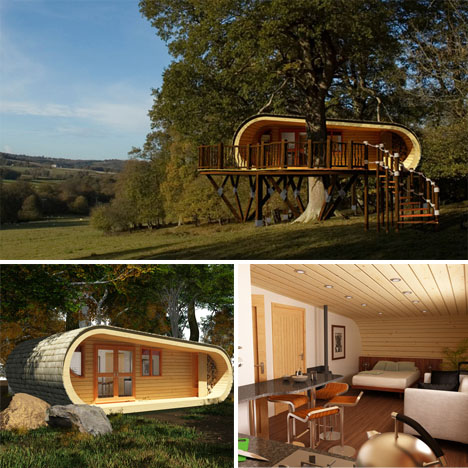 Prefabricated Tree House. Modern Treehouses Eco Perch