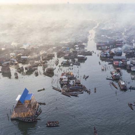 floating school zoomed aerial