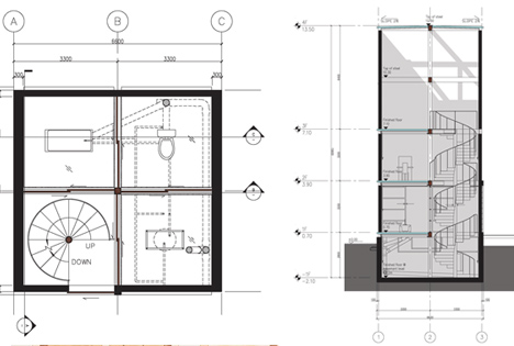 glass house plan section