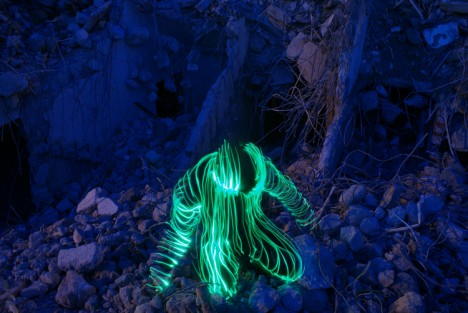 light art crouching portrait