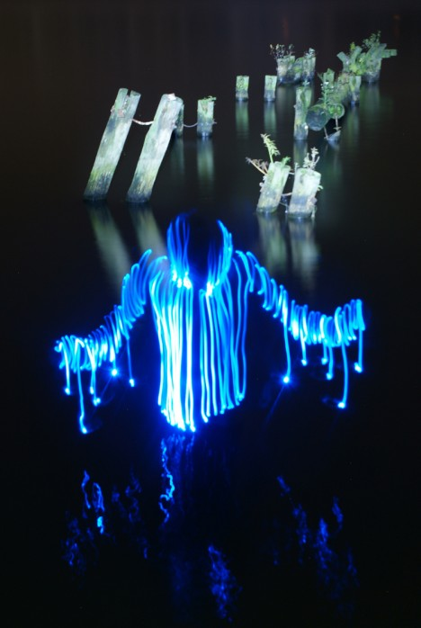 light drawing water monster
