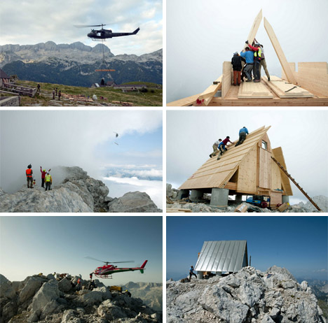 mountaineer retreat construction helicopter