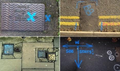 street symbols blue water