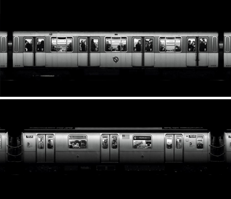 time subway black white