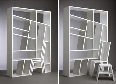 Bookshelf Room Divider Viable Hidden Chair