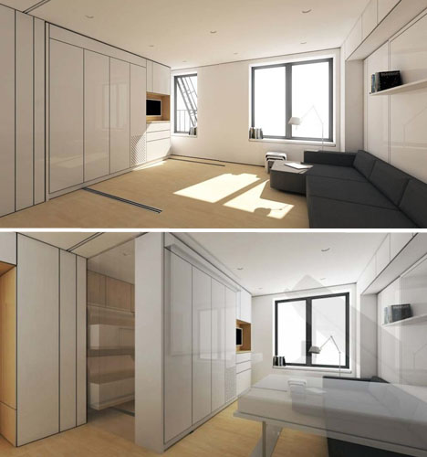 Flexible interiors 13 shape shifting small apartments urbanist - Space efficient studio apartment furniture ideas for your small living place ...
