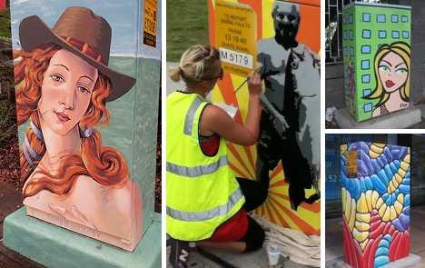 Brisbane Australia traffic light signal box art