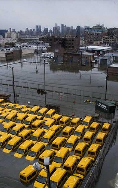 Superstorm Sandy flood taxi cabs Hoboken New Jersey