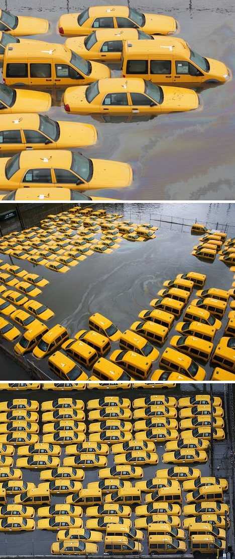 Superstorm Sandy flood abandoned taxi cabs Hoboken New Jersey