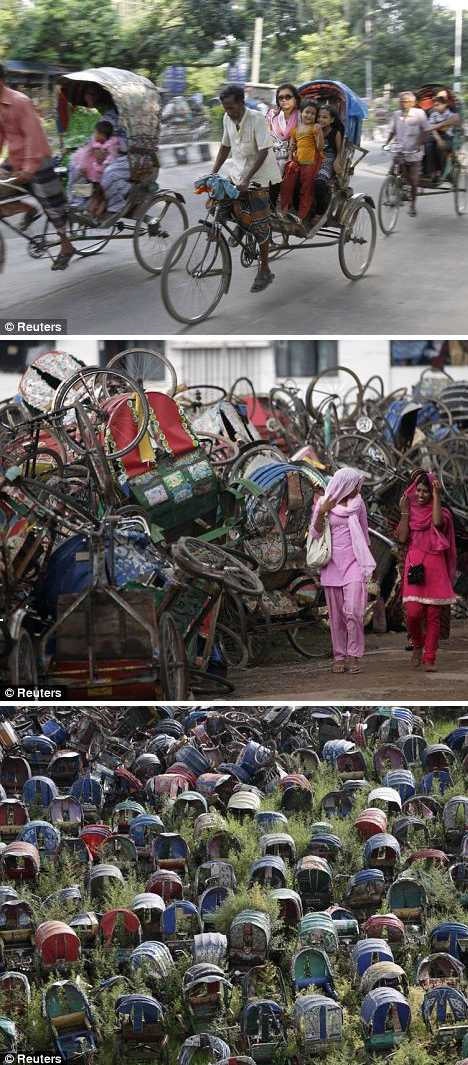 rickshaw cabs abandoned Dhaka Bangladesh