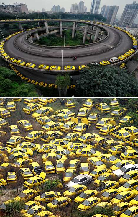 yellow cabs Chongqing China