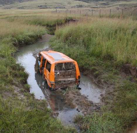 abandoned minibus taxi cab Drakensberg South Africa