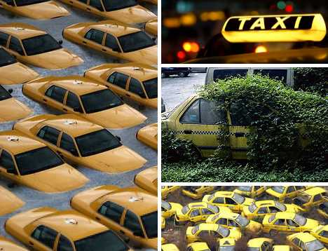 abandoned taxi cabs