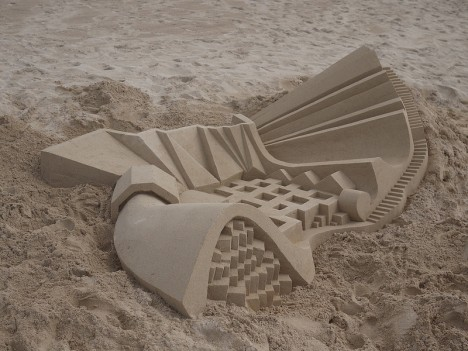 geometric sand pavillion stairs