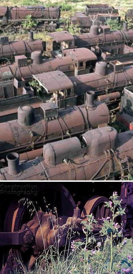 Thessaloniki Greece rusty steam train graveyard