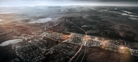 relocated city aerial view