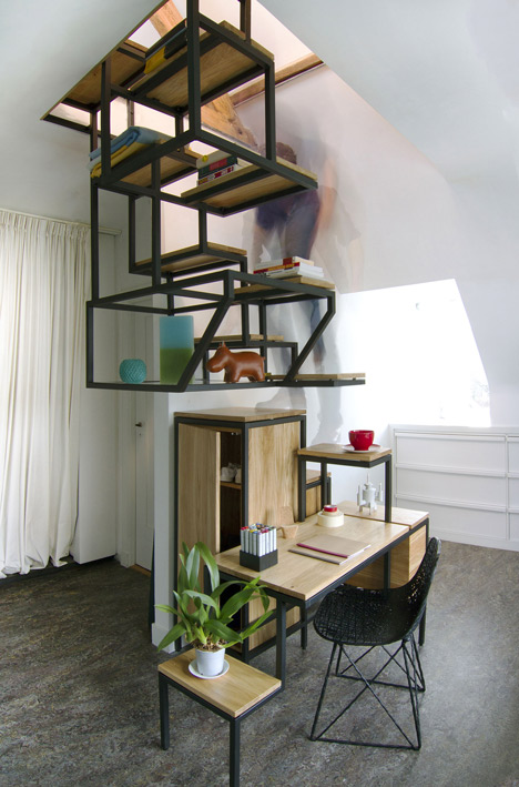 steel busy staircase use