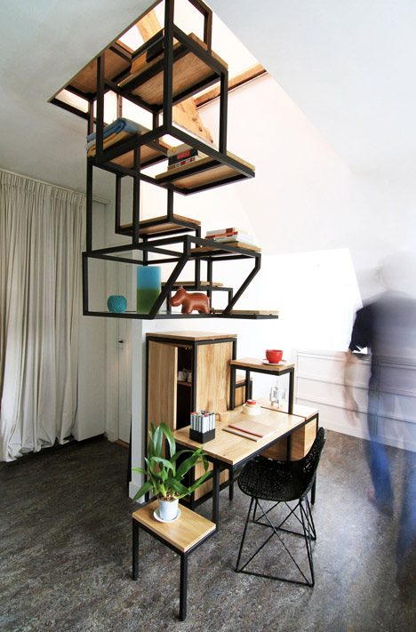 steel wood hanging steps