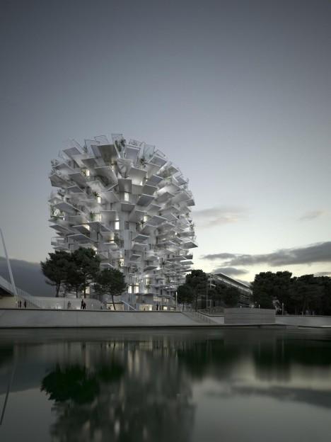 tree tower artificial lake