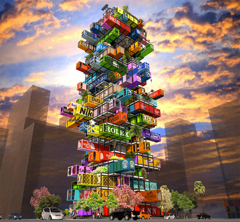 Jenga like hotel made of stacked shipping containers for Hive container homes