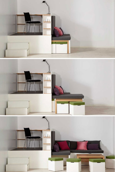 Small space hacks 24 tricks for living in tiny apartments for Living room set for small apartments