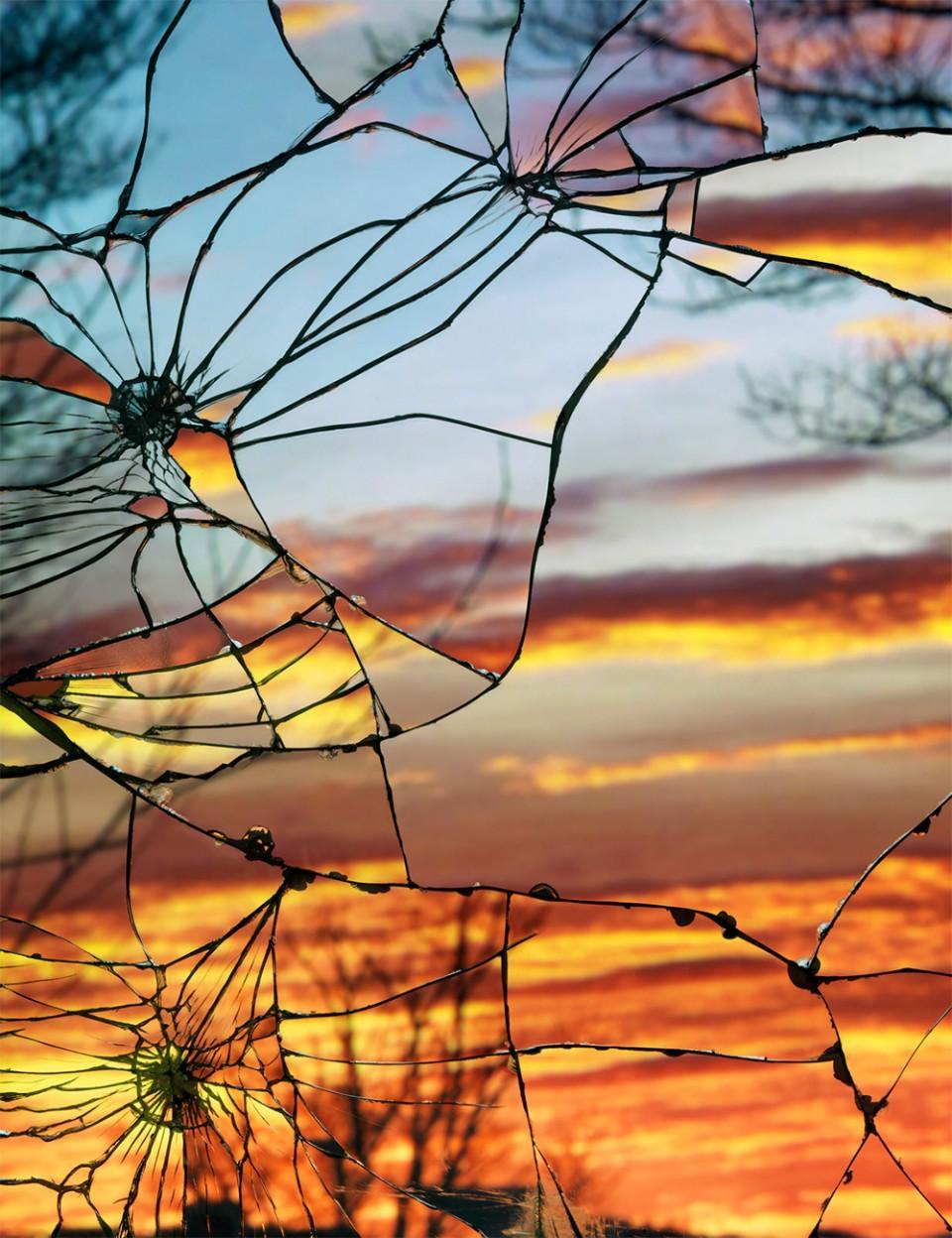 broken mirror evening sky