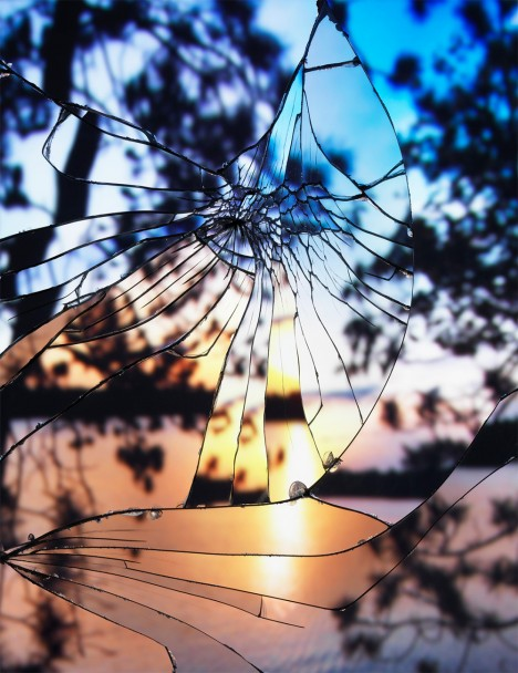 broken mirror sunset photo