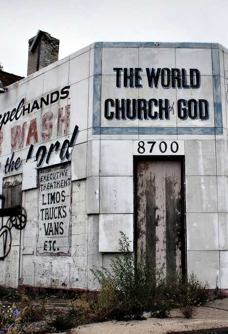 abandoned Detroit car wash church