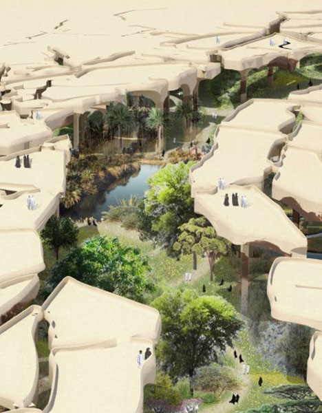 Cracked earth desert canopy shelters underground oasis urbanist - The subterranean house fighting small spaces ...