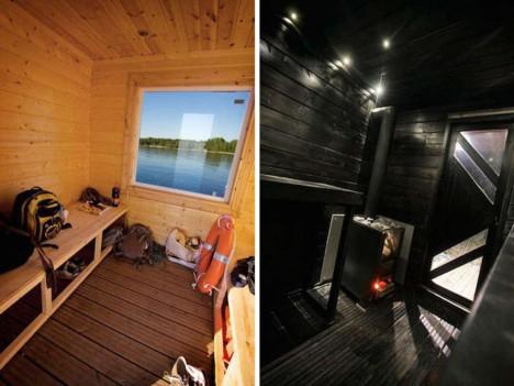 floating sauna interior space