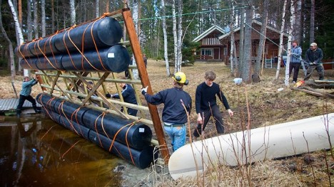 floating sauna recycled barrels