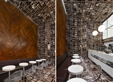 Floor-To-Wall Books: Dizzying Sideways Cafe Design In Nyc | Urbanist